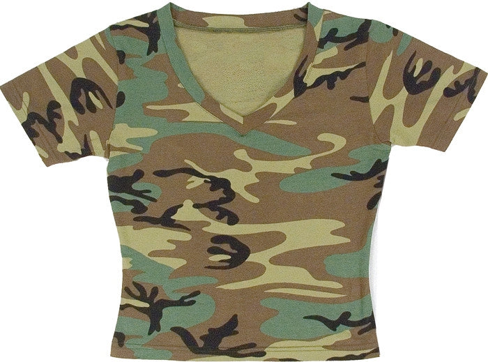 Woodland Camouflage - Womens Military Short Sleeve V-Neck T-Shirt