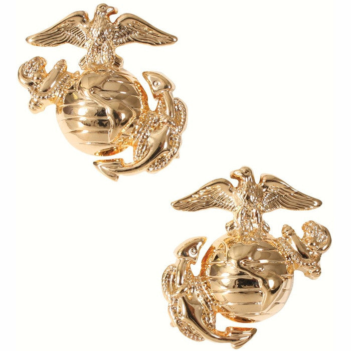 Gold - USMC Globe and Anchor Pin-On Insignia Pair