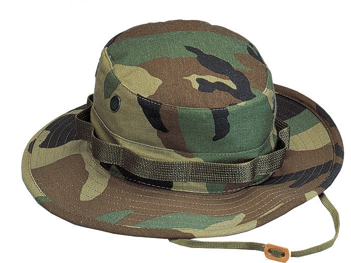 Woodland Camouflage - Military Boonie Hat - Cotton Ripstop