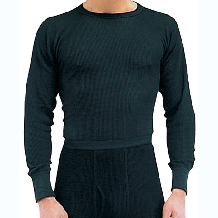 Black - Cold Weather Thermal Knit Crew Neck Shirt - Cotton Polyester