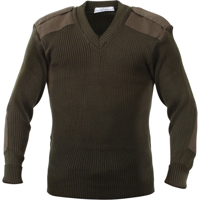 Olive Drab - Military GI Style V-Neck Sweater - Acrylic
