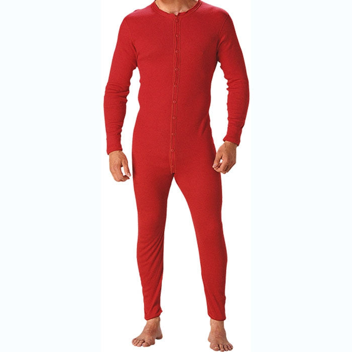 Red One Piece Union Suit Thermal Mens Long Johns Winter Hunting Cotton Underwear