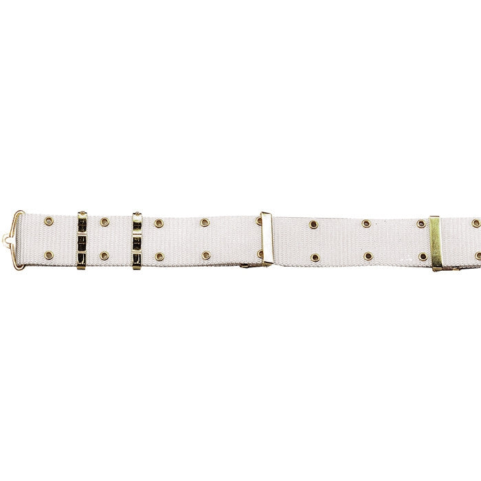 White Army Style Pistol Belt with Gold Brass Buckle - Nylon