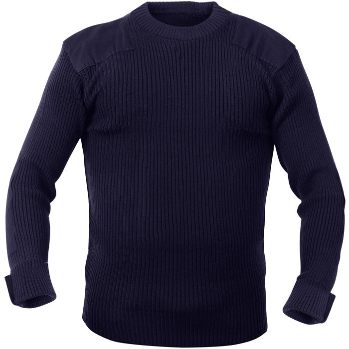 Navy Blue - Military Style Army Commando Crew Neck Sweater - Acrylic