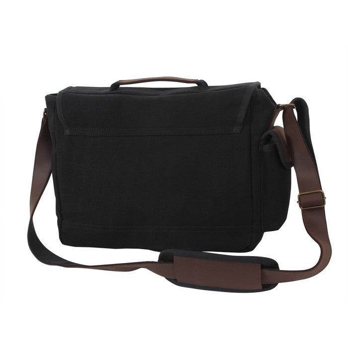 Black - Trailblazer Laptop Bag with Leather Accents