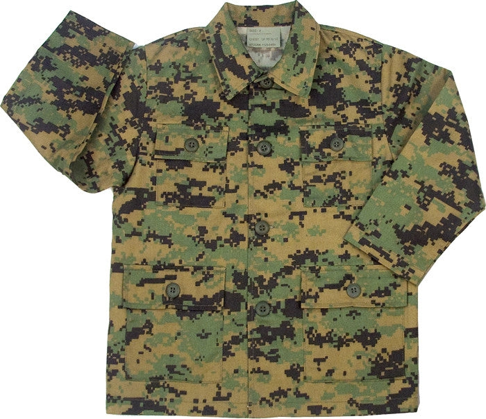 Digital Woodland Camouflage - Kids Military BDU Shirt - Army Navy Store f1c47e9c66d