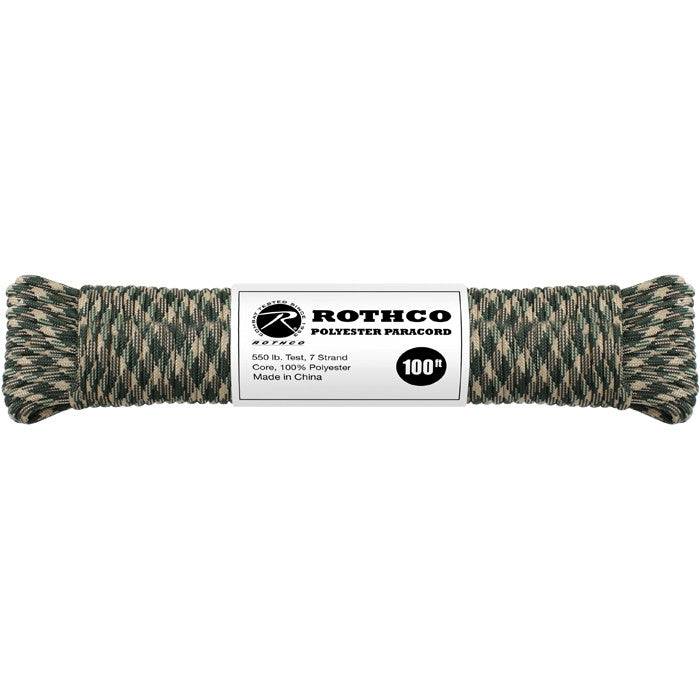 Woodland Camouflage - Polyester 550 LB Tested 100 Feet Paracord Rope