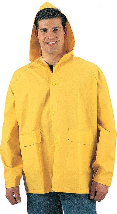 Yellow - Heavy Duty PVC Hooded Rain Jacket