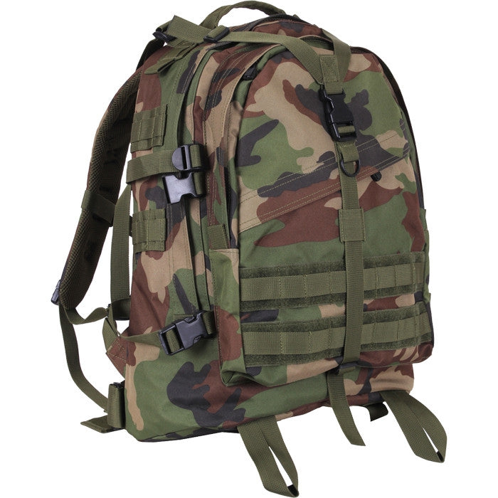 Woodland Camouflage - Military MOLLE Compatible Large Transport Pack