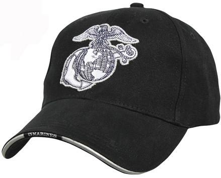 Black - Globe & Anchor Military Low Profile Adjustable Baseball Cap