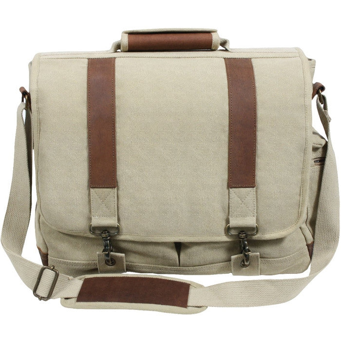 Khaki - Pathfinder Laptop Shoulder Bag - Leather Canvas