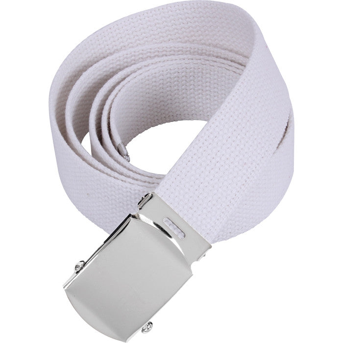 White - Military Web Belt with Chrome Buckle