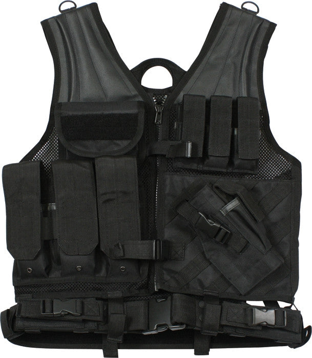 Black - MOLLE Compatible Cross Draw Tactical Vest