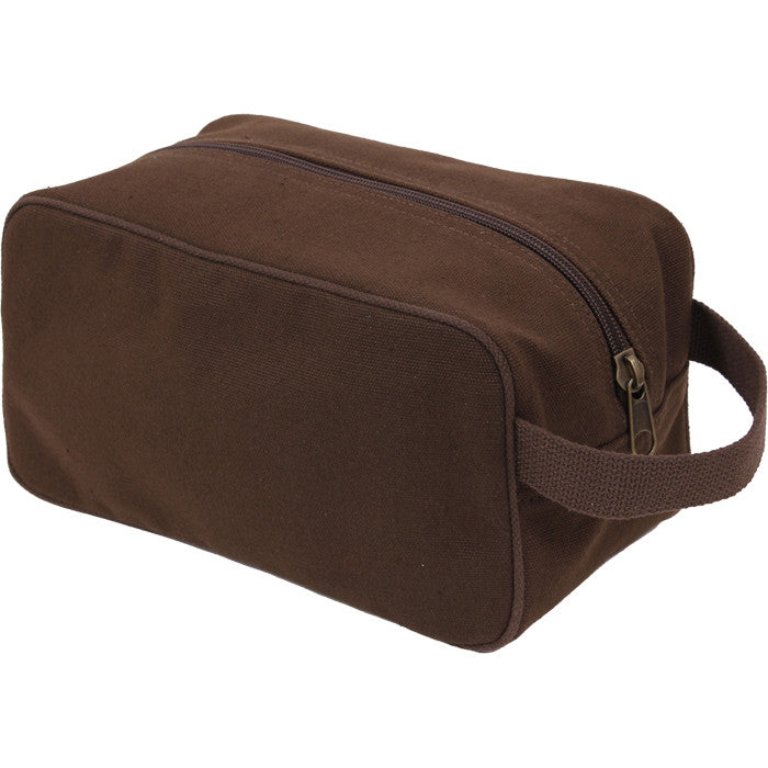 Brown - US Army Style Travel Kit Case - Cotton Canvas