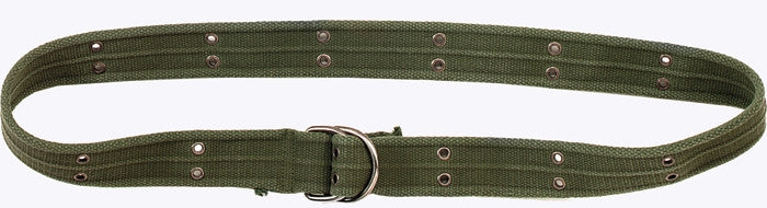 Olive Drab - Military Vintage D-Ring Belt with Chrome Buckle