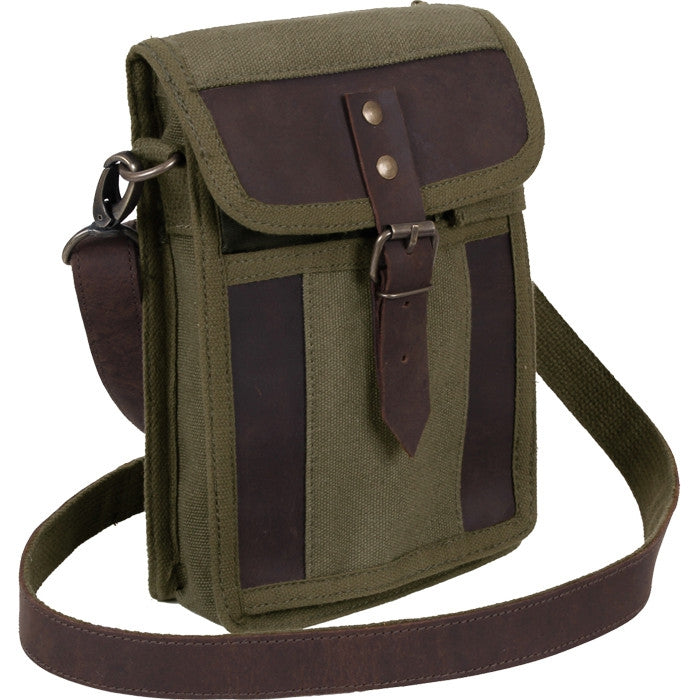 1edcebe1c35f ... Olive Drab - Tactical Canvas Travel Portfolio shoulder bag With Leather  Accents