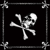 Black - Army Bandana with Jolly Roger Emblem 22 in. x 22 in.