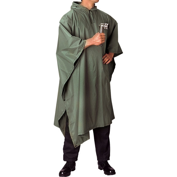 Olive Drab - GI Enhanced Military Style Poncho - Polyester Ripstop