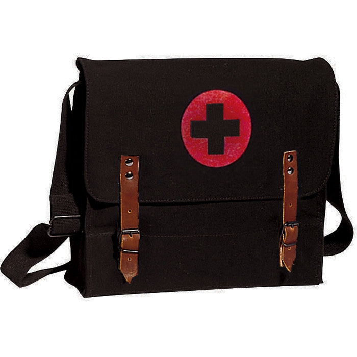 Black - NATO Medic Shoulder Bag with Red Cross Emblem