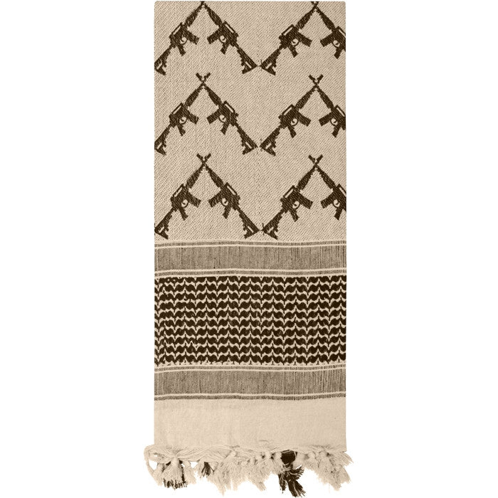 Tan - Crossed Rifles Shemagh Tactical Desert Scarf