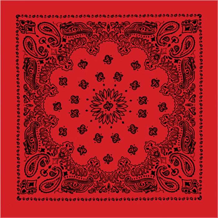 Red - Trainmen Bandana with Black Print 22 in. x 22 in.