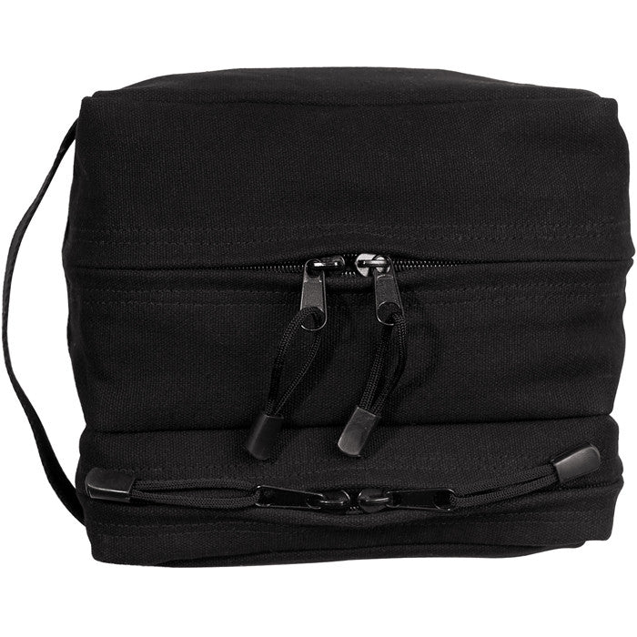 Black - Dual Compartment Travel and Shave Kit Bag - Cotton Canvas