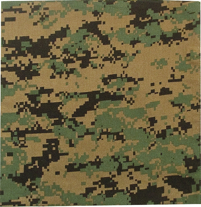 Digital Woodland Camouflage - Military Bandana 22 in. x 22 in.