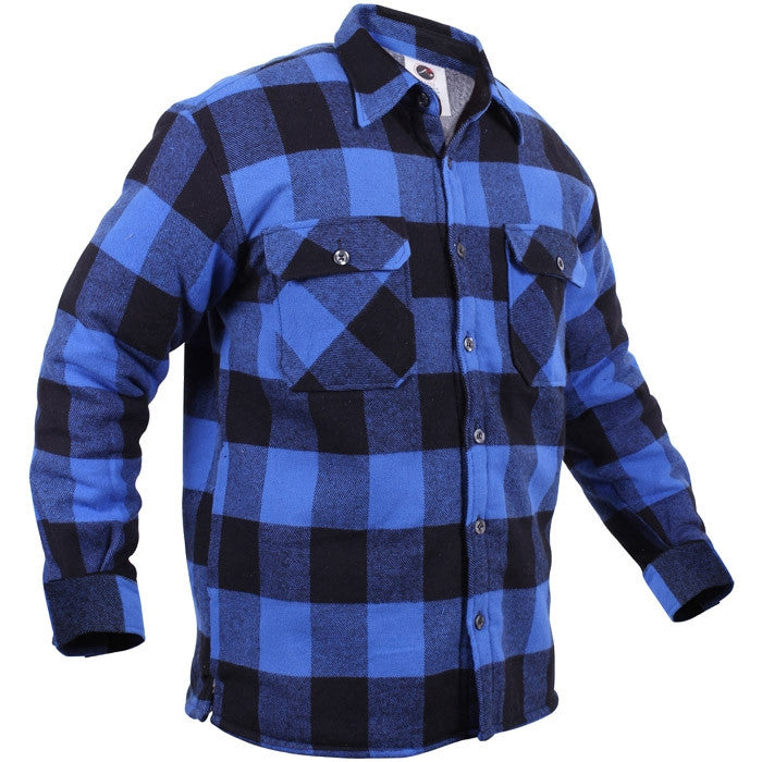 Blue Black Buffalo Plaid - Sherpa Lined Flannel Jacket