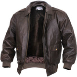 Brown - Leather Classic A-2 Vintage Military Bomber Flight Jacket