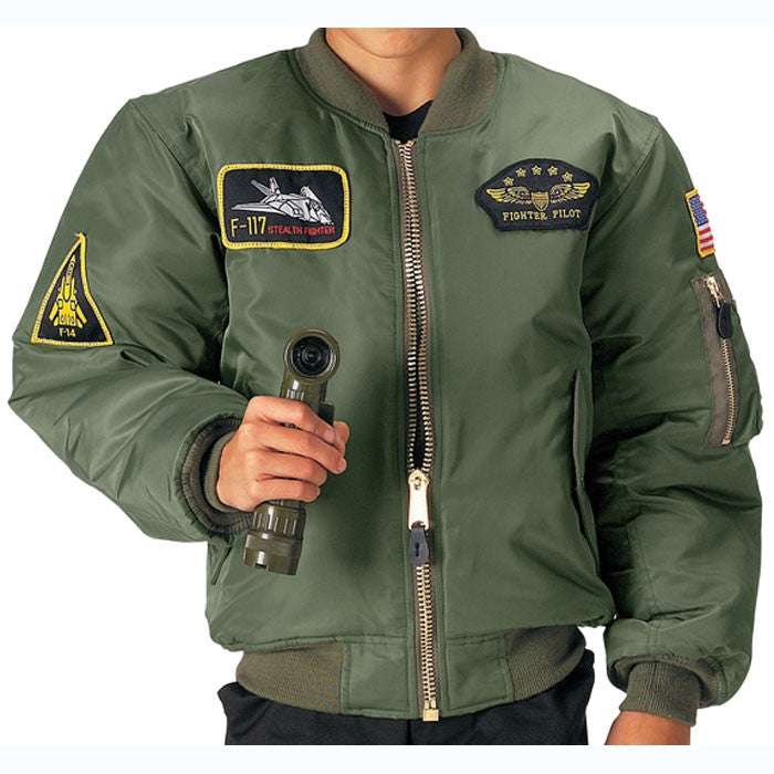 Olive Drab - Kids Top Gun Air Force MA-1 Bomber Flight Jacket with Patches