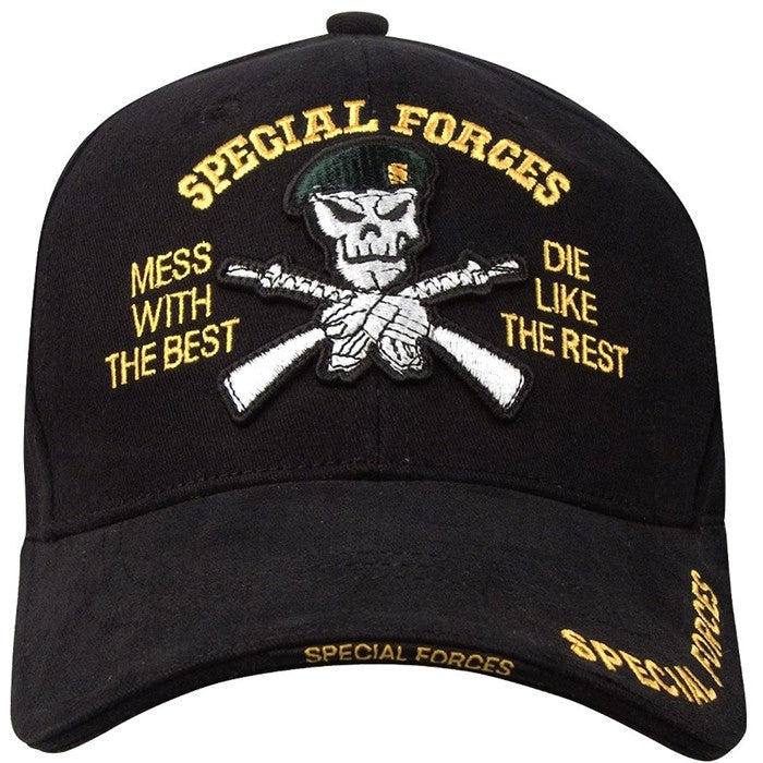Black - SPECIAL FORCES Deluxe Adjustable Cap with Special Forces Emblem