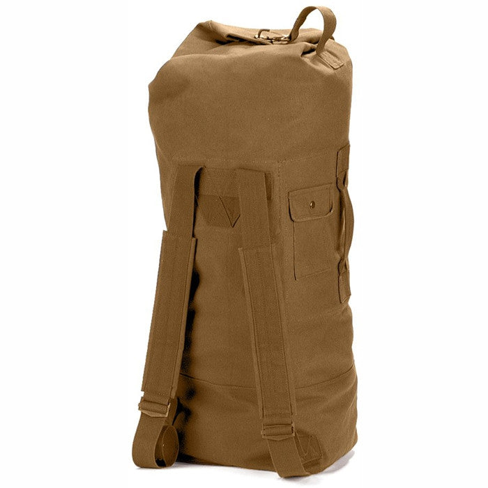 Coyote Brown - Military GI Style Double Strap Duffle Bag 22 in. x 38 in. - Cotton Canvas
