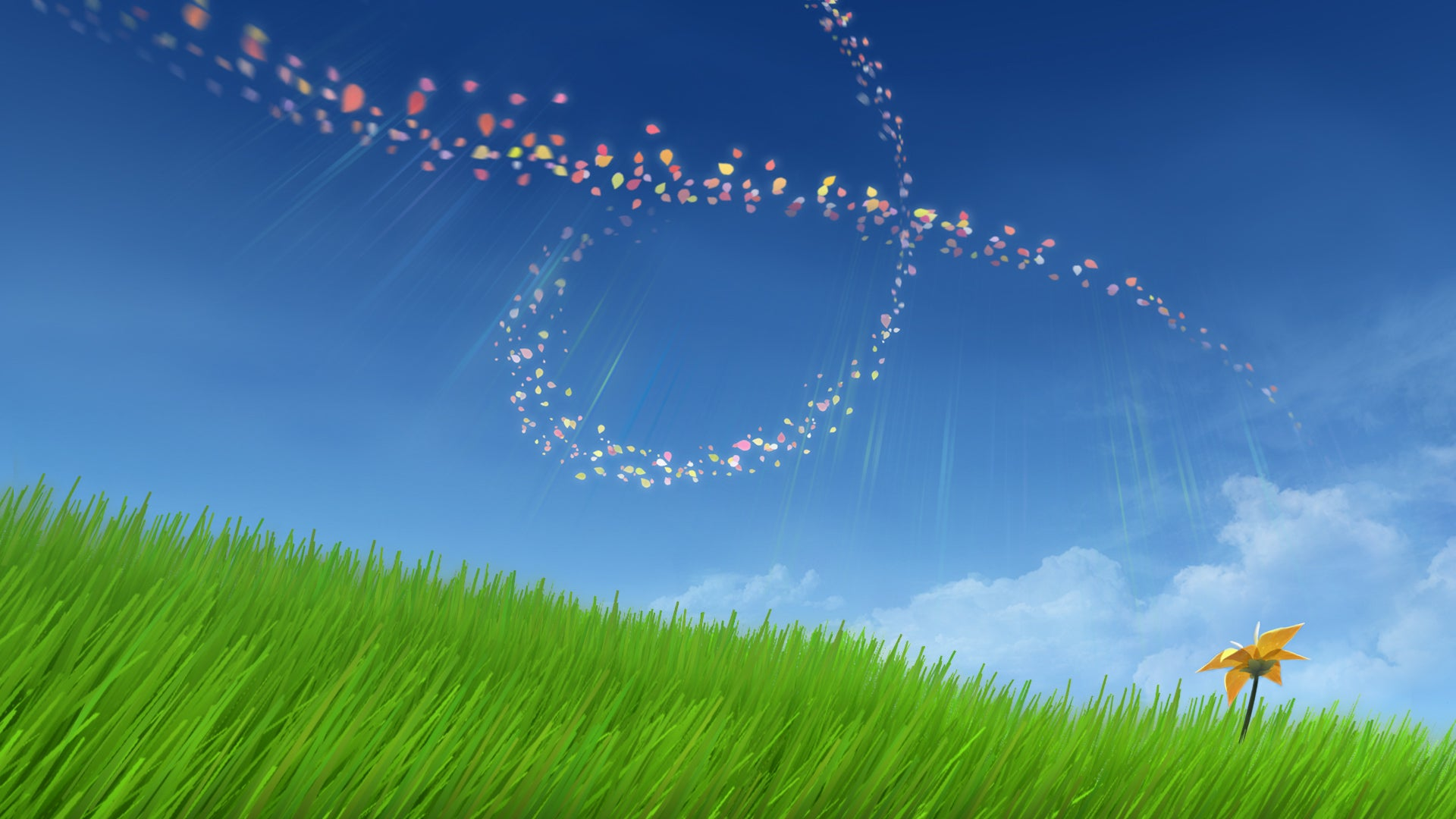 A key art image from Flower, showing a blue sky