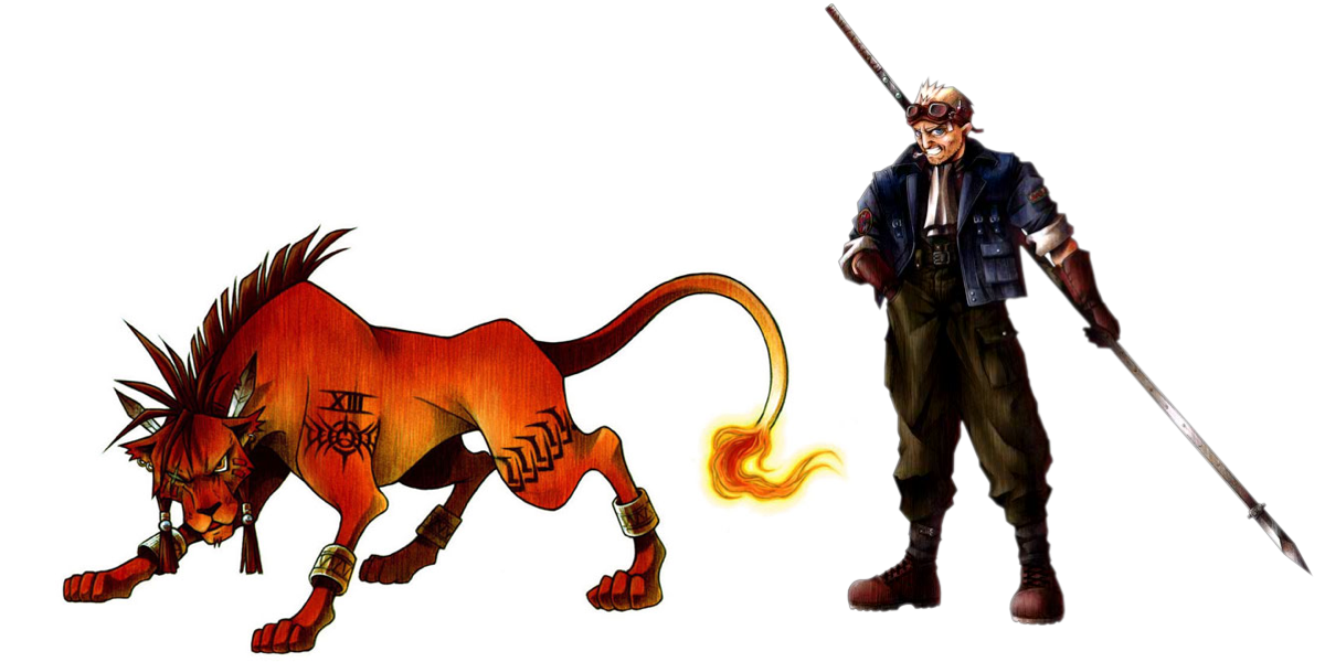 Nanaki / Red XIII and Cid from Final Fantasy 7