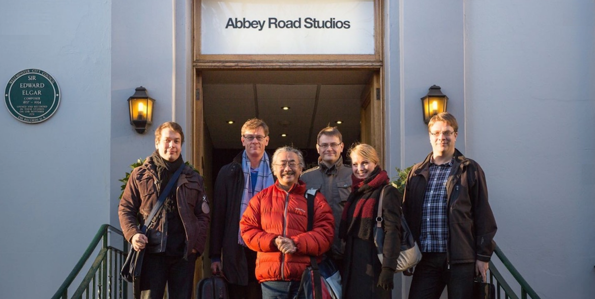 Final Symphony recording session at Abbey Road Studios, February 2015 — from left to right: Jonne Valtonen (arranger), Eckehard Stier (conductor), Nobuo Uematsu (godlike genius), Thomas Böcker (producer), Katherina Treutler (solo pianist) and Roger Wanamo (arranger)