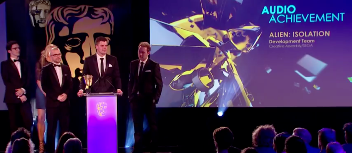 Creative Assembly picks up the Audio Achievement BAFTA for Alien: Isolation in 2015