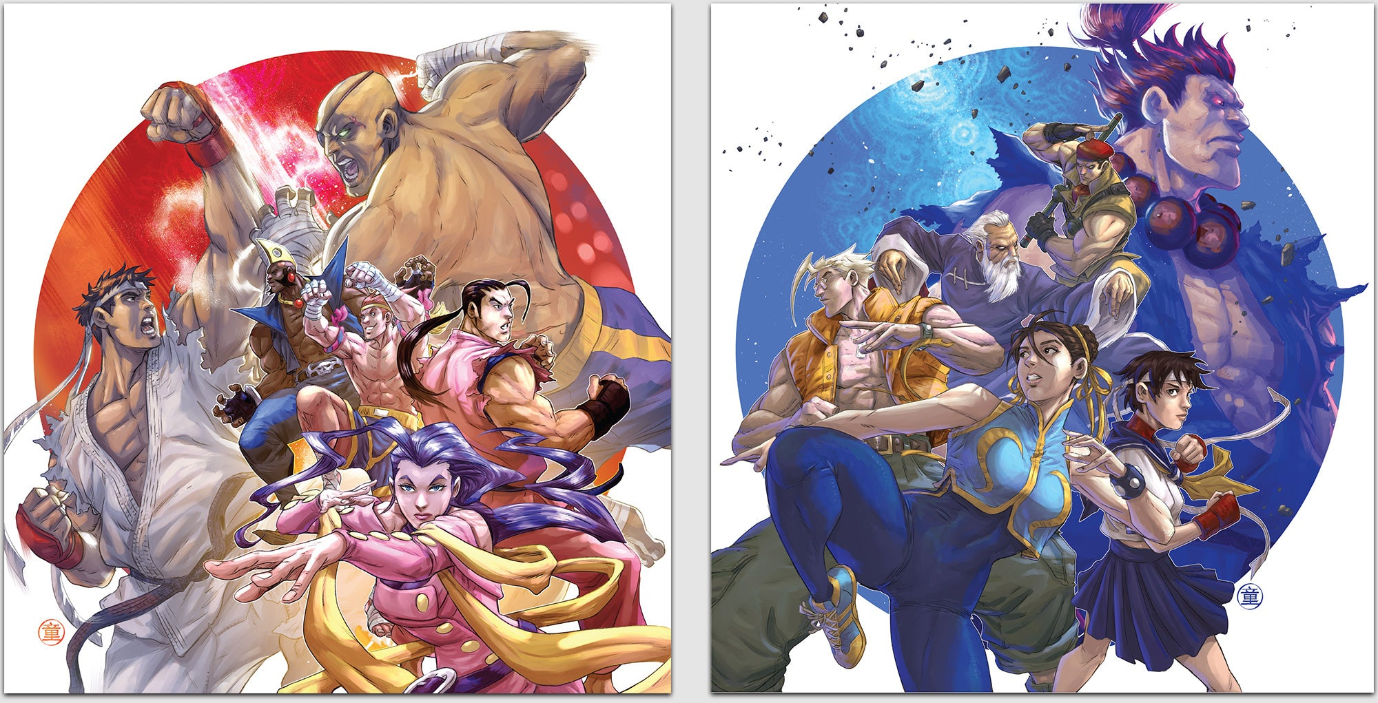 the front covers for both the Street Fighter Alpha: Warriors' Dreams and Alpha 2 double LP vinyl set