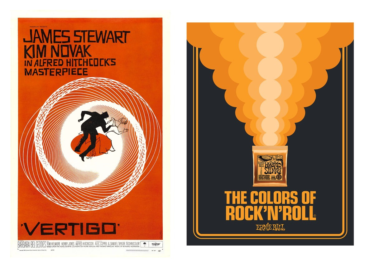 "(Left) The movie poster for Hitchcock's Vertigo by Saul Bass; (right) ""Ernie Ball - The Colors of Rock'N'Roll"" poster by Aaron Draplin"