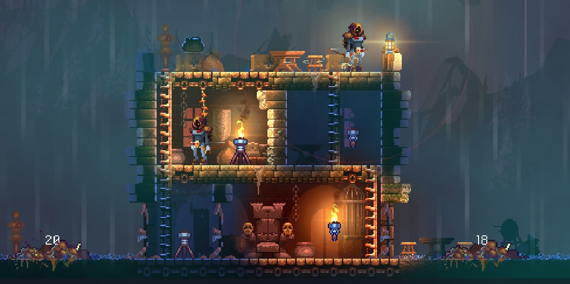 A screenshot of the 2014 version Dead Cells, when it was a multiplayer tower defence game.