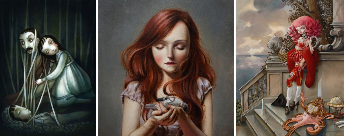 "(Left) ""Morelia"" by Benjamin Lacombe; (centre) ""Dead Bird"" by Ania Tomicka; (right) ""Princes of None"" series by Kukula."
