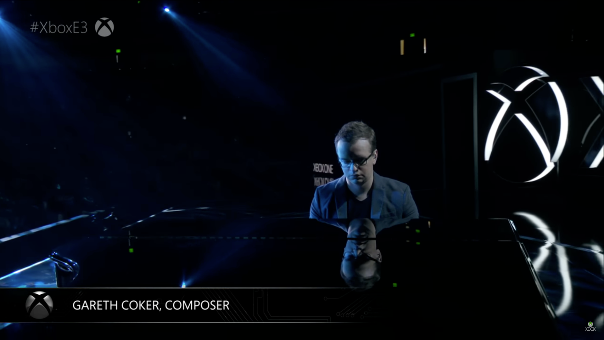 Gareth Coker onstage at E3 2017