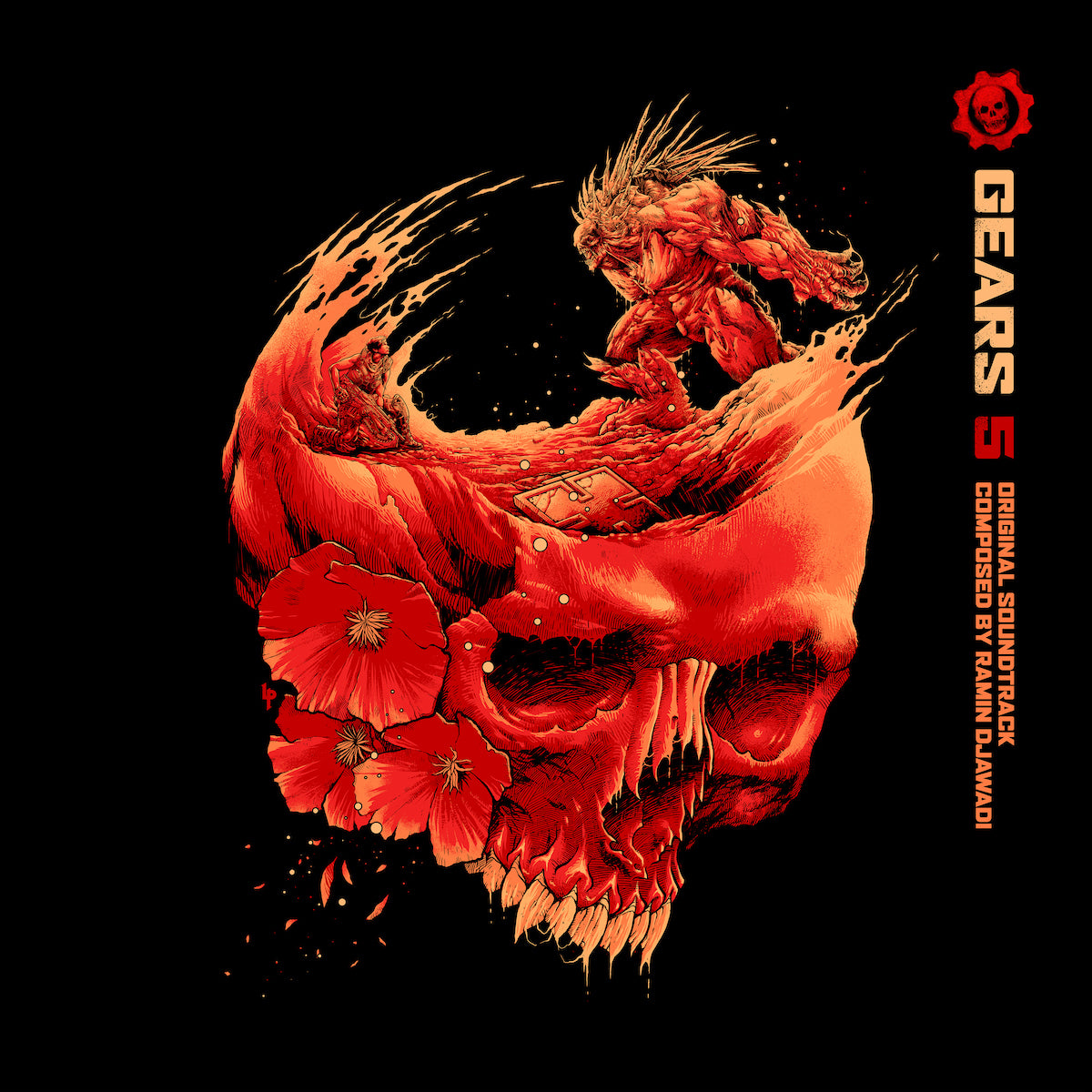 The front cover of the Gears 5 soundtrack vinyl; artwork by Luke Preece.