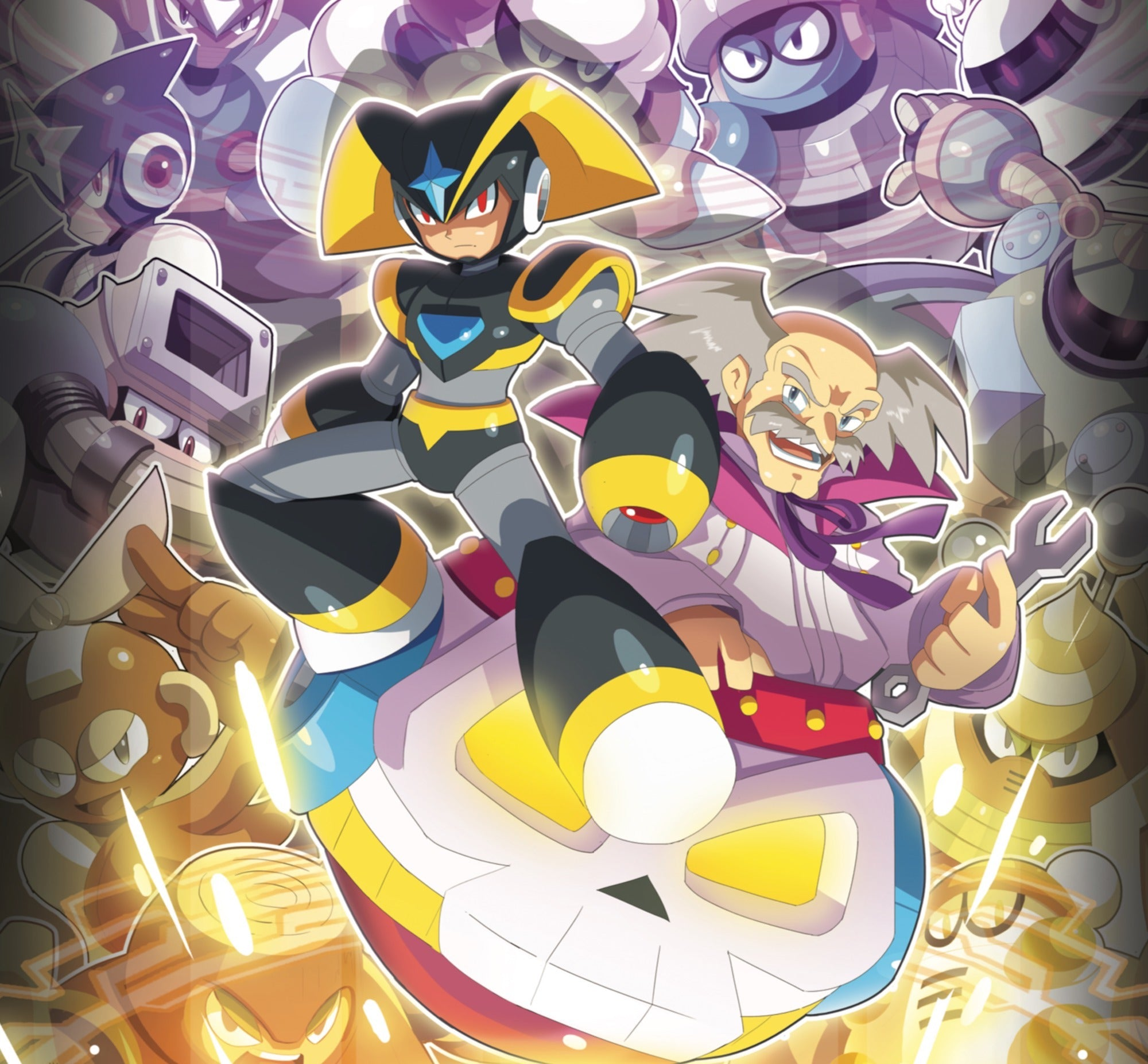 "ultimatemaverickx's outer sleeve back cover for the Mega Man 1-11: The Collection vinyl box set — ""Evil Genius""."
