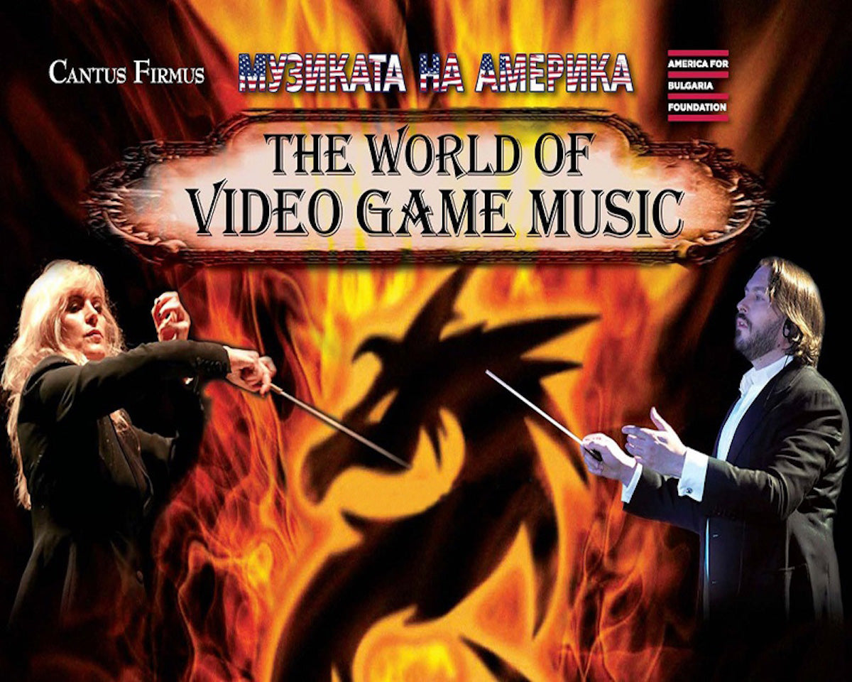 Conductor Amy Andersson and composer Neal Acree on the promotional artwork for The World of Video game Music concert in Sofia, Bulgaria.
