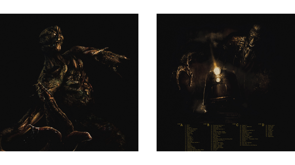 The front (left) and back (right) covers of the Resident Evil 0 soundtrack vinyl; artwork by Boris Moncel.