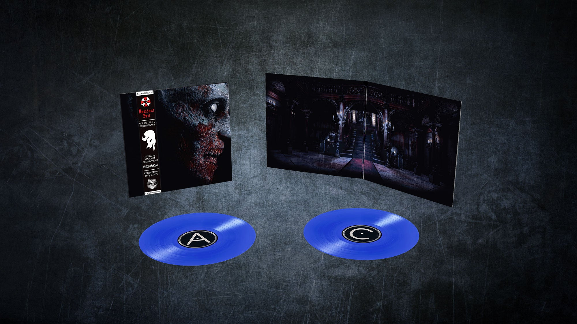 The Resident Evil 2002 vinyl laid out with blue LPs