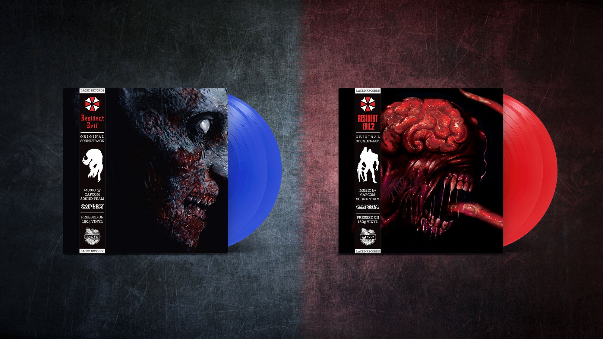 The Resident Evil 2002 and RE2 1998 soundtrack vinyl in blue and red respectively