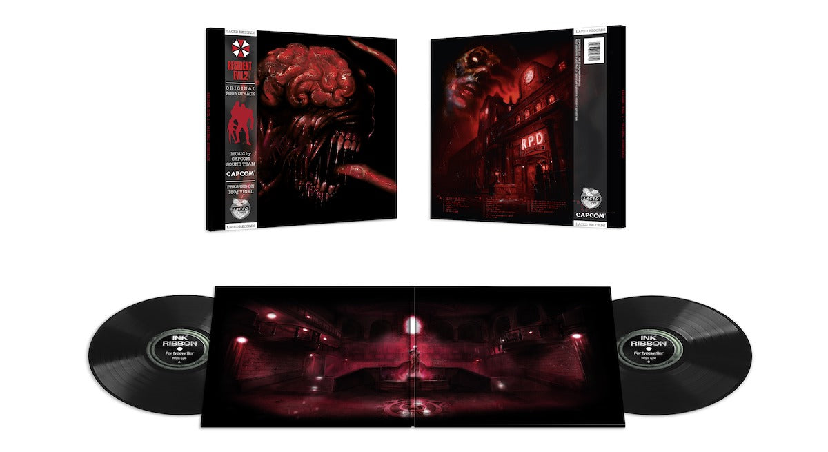 The Resident Evil 2 (1998) deluxe double black soundtrack vinyl is available to pre-order at www.lacedrecords.com