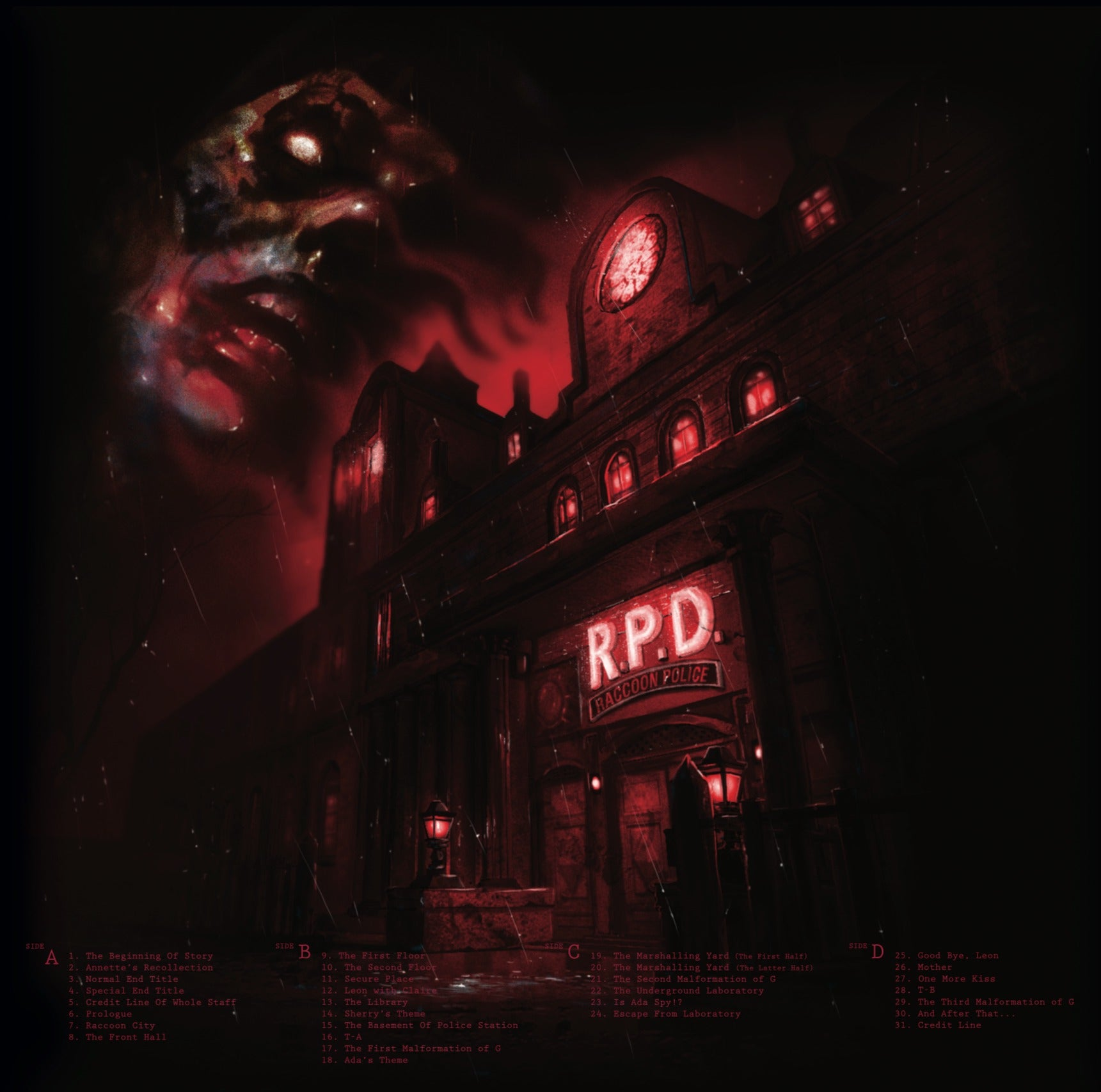 The back cover of the Resident Evil 2 vinyl.
