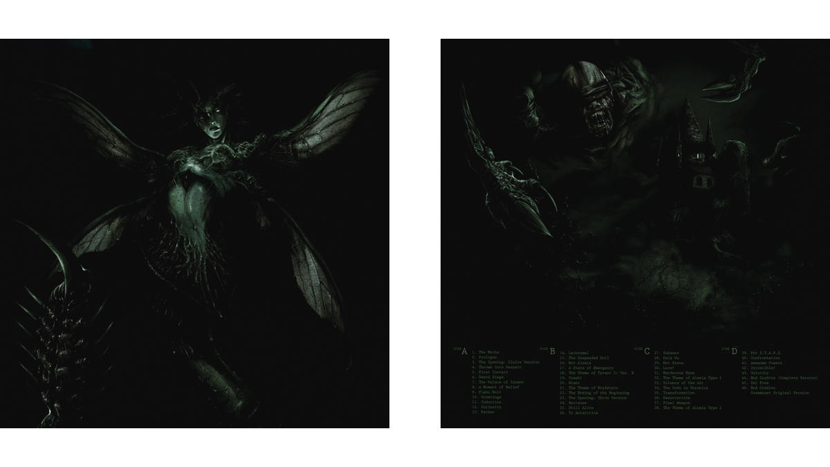 The front (left) and back (right) covers of the Resident Evil CODE: Veronica soundtrack vinyl; artwork by Boris Moncel.